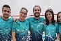 Equipa de squash da AAUAv nos Nacionais Universitários de Squash: Jorge Monteiro e Ana Monteiro (1º e 4ª a partir da esq.)